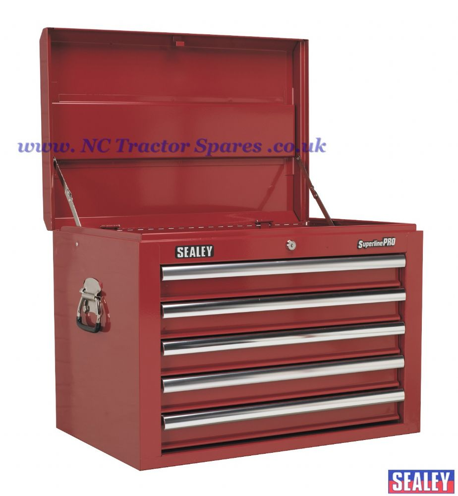 Topchest 5 Drawer with Ball Bearing Runners - Red.